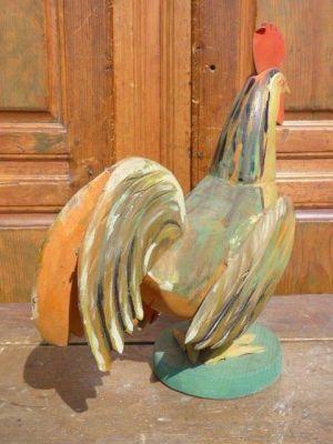 Coq art populaire en bois 3