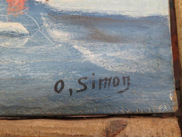 ancienne peinture, tableau signé o. simon 3