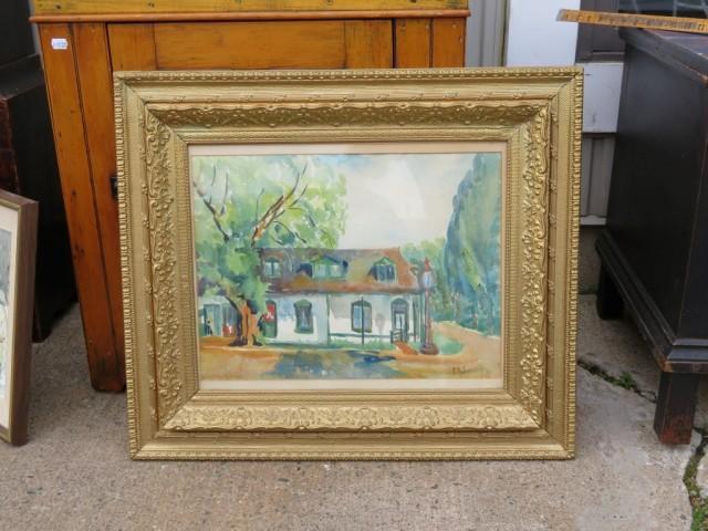 aquarelle sur toile signée Sweeny, tableau, peinture  1