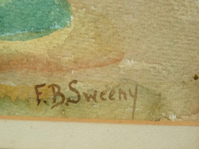 aquarelle sur toile signée Sweeny, tableau, peinture  2