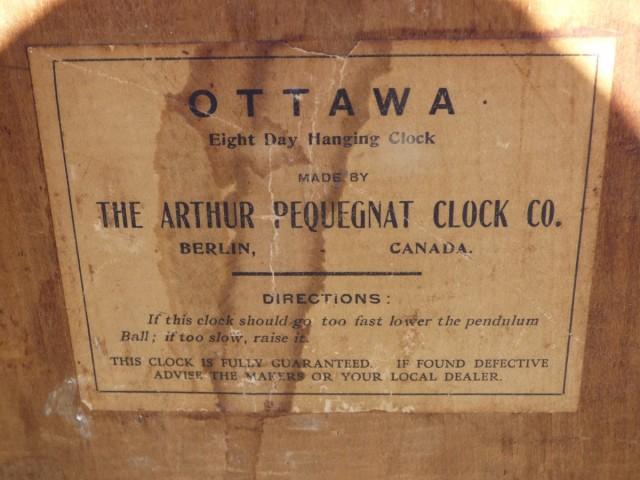 Horloge murale, Arthur Pequegnat, Ottawa 3