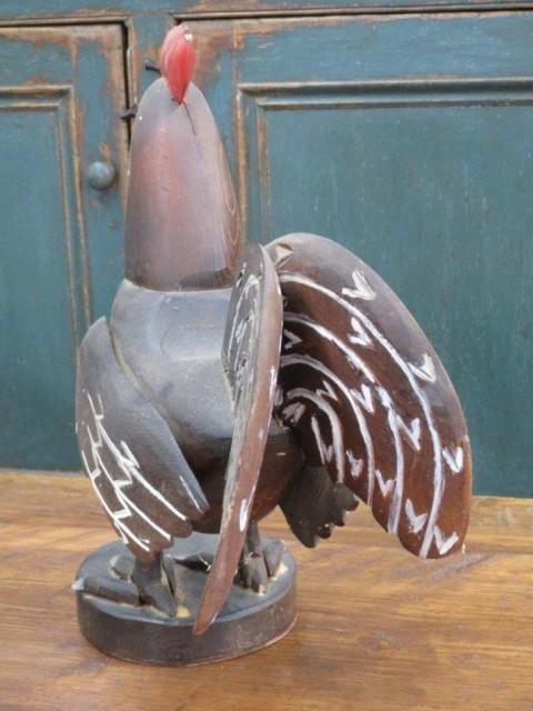 Art populaire, coq sculpté en bois 3