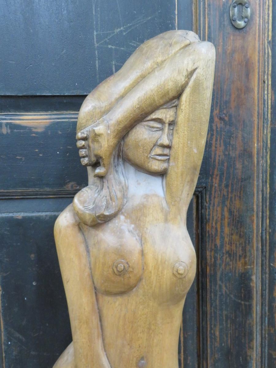 Sculpture signée, art populaire 3