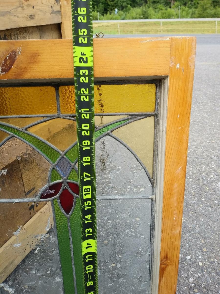 Vitrail avec cadre en bois, voir autres photos 2