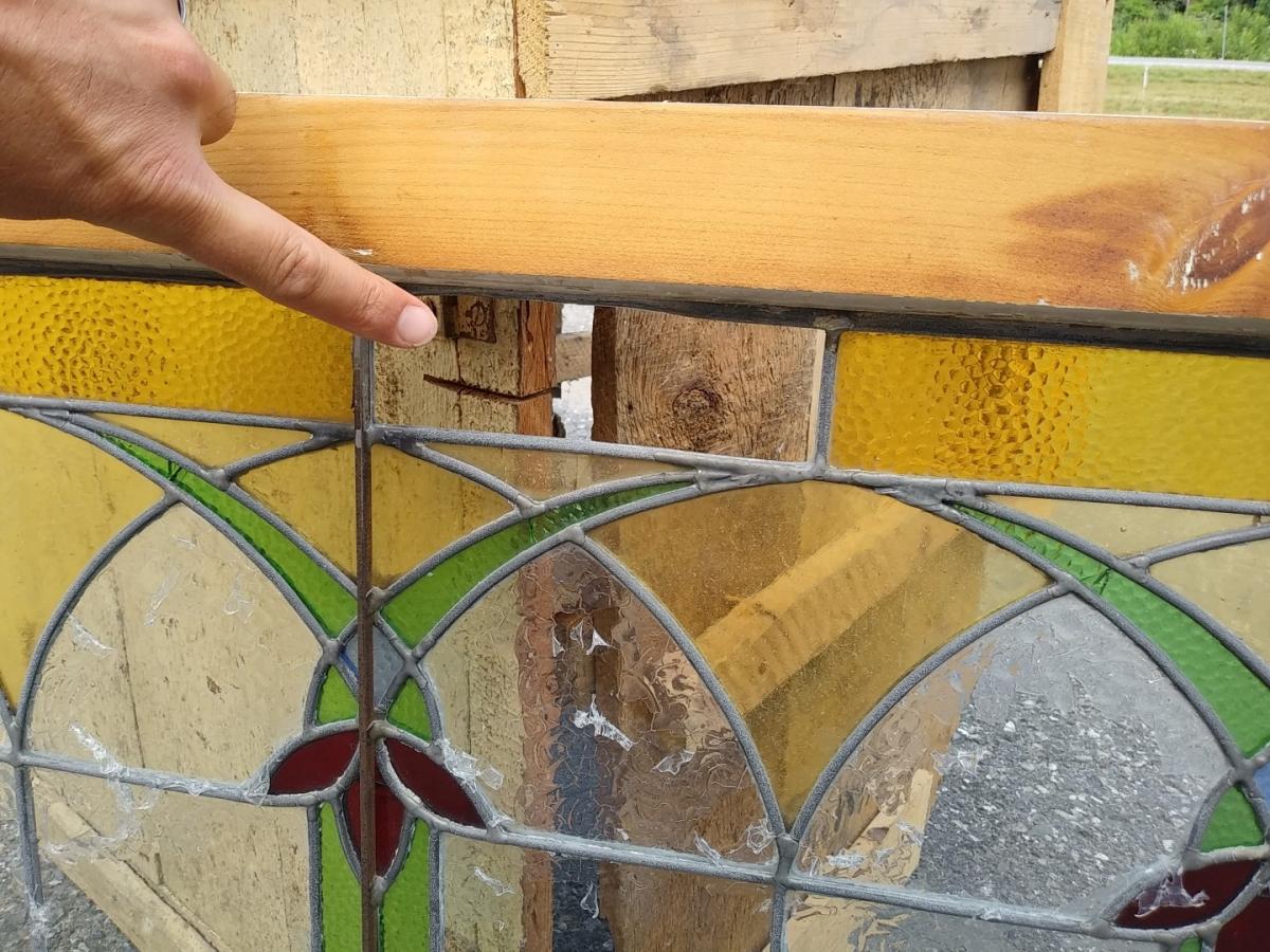 Vitrail avec cadre en bois, voir autres photos 4