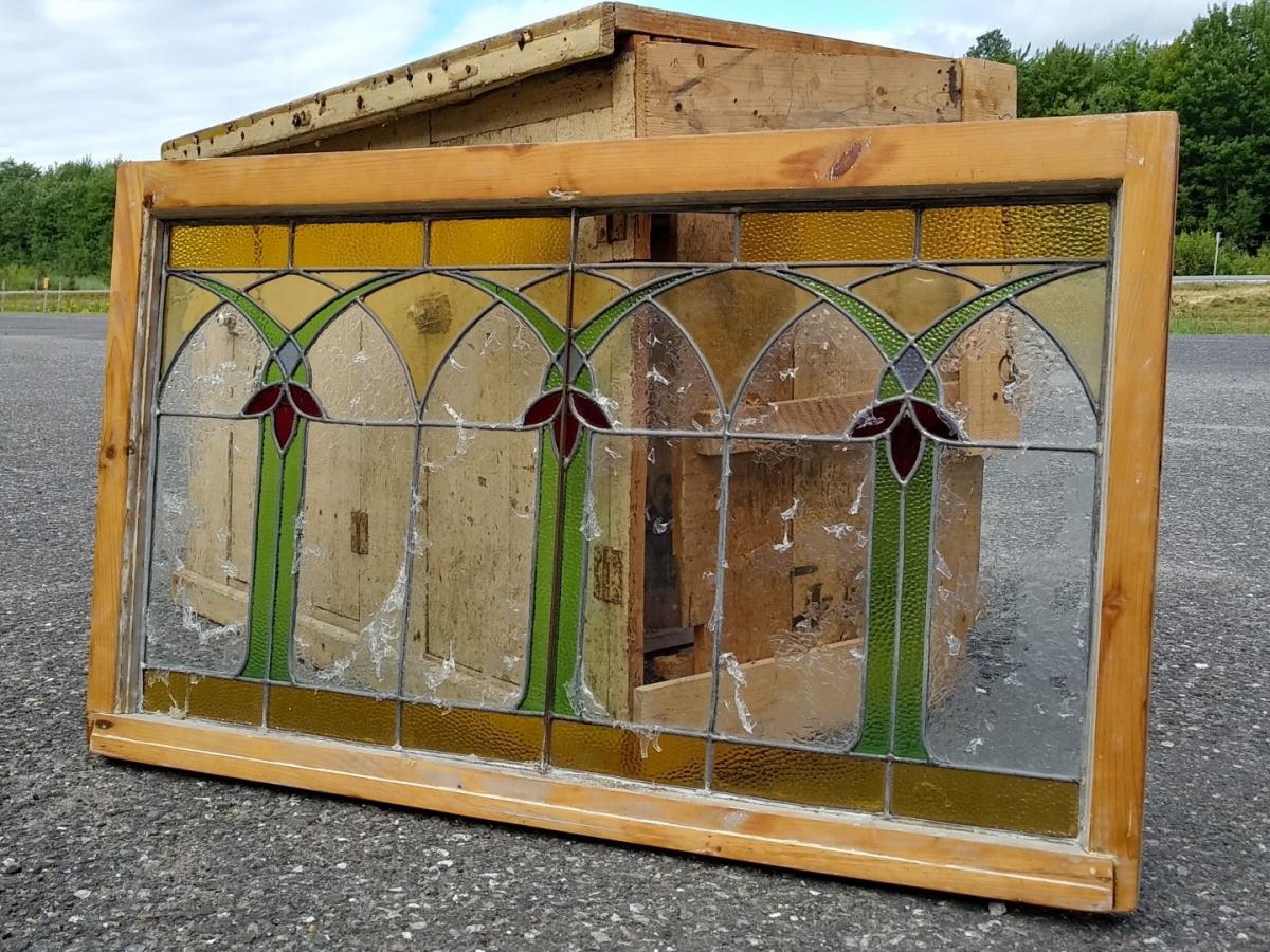 Vitrail avec cadre en bois, voir autres photos 1