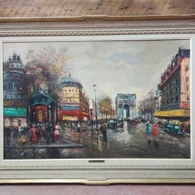Painting signed P. Antoine, Paris, Champs-Élysées