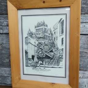#41584 - 25$ Gravure imprimée Magher, Château Frontenac, dessin
