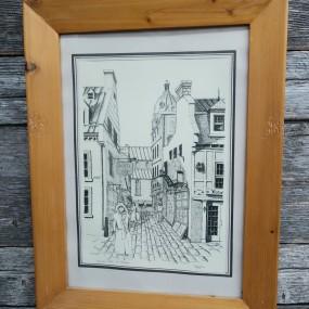 #41607 - 25$ Gravure imprimée, signée Wagher, rue du Trésor, Québec