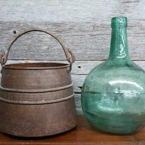 #38489 -  (Cuper cauldron sold) and demi-john bottle