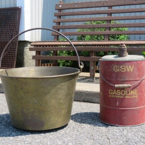Brass cauldron and gazoline can
