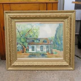 aquarelle sur toile signée Sweeny, tableau, peinture