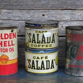 #25036 - 15$ ch. Pintes d'huile et (contenants de café Salada vendus)