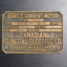#26820 - 45$ Plaque en laiton General Electric Co.