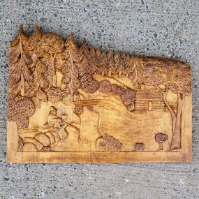 #26810 - 85$ Bas-relief sculpté et signé Léo Morissette