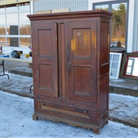 Pine antique armoire, square nails