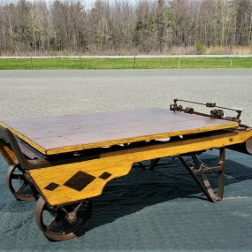 Restored antique agricol scale, coffee table