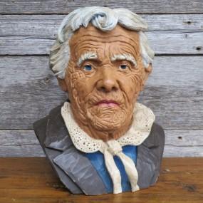 Buste sculpté en bois, sculpture art populaire