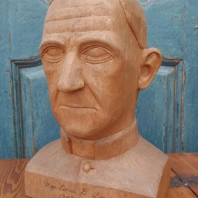 Wooden carving by Justin Rochefort, 1958, sculpture of Mgr. Lionel D. Lemieux