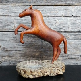 Ashtray with wooden folk art horse carved