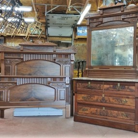 Chest of drawers and walnut bed, Eastlake