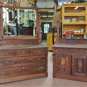 Walnut chest of drawers and washstand