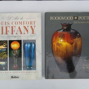 Books, Tiffany lamps and Rookwood pottery