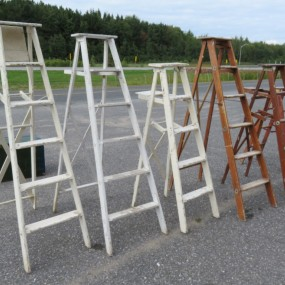 Lot of old wooden ladder