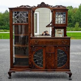 Oak sideboard, china cabinet