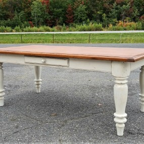Nice diner room table, has benn made with old materials