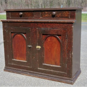 Rustic sideboard, cupboard was cut in the past