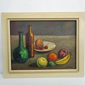 Peinture, tableau huile sur toile, nature morte