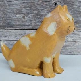 Petite sculpture art populaire signée Yvon Gamache, chat