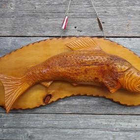 Léonard Croteau wooden fish, folk art carving