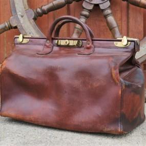 Rare trousse de docteur en cuir, fabriquée à Londres, sac