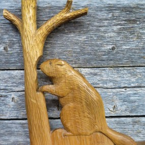 Folk art carving, sculpture with beaver, signed Arpin