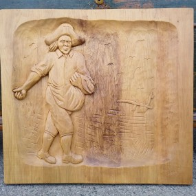 Folk art low relief carving, sculpture signed Janet Thibault