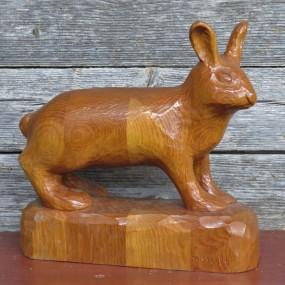 Folk art wooden rabbit carving, sculpture