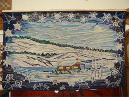 Magnifique tapis crochet� antique