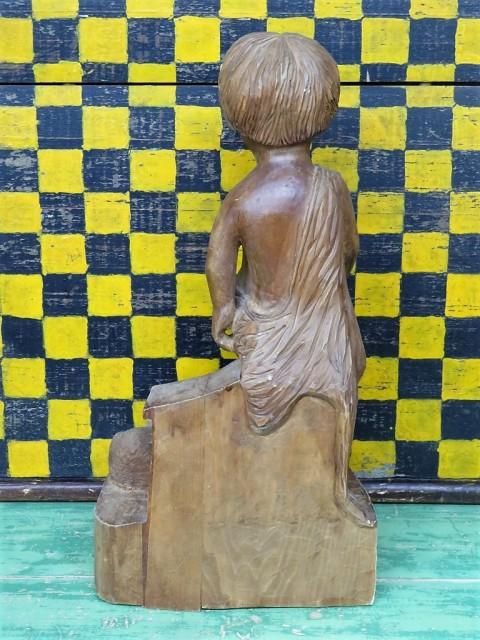 Sculpture en bois signée Lynn, art populaire 2
