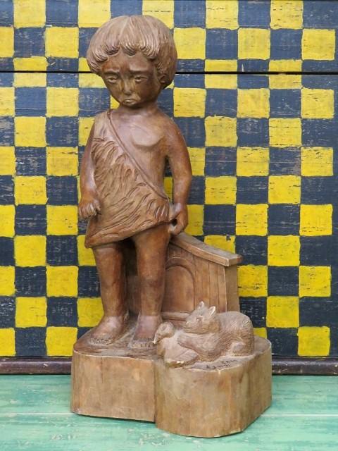 Sculpture en bois signée Lynn, art populaire 1