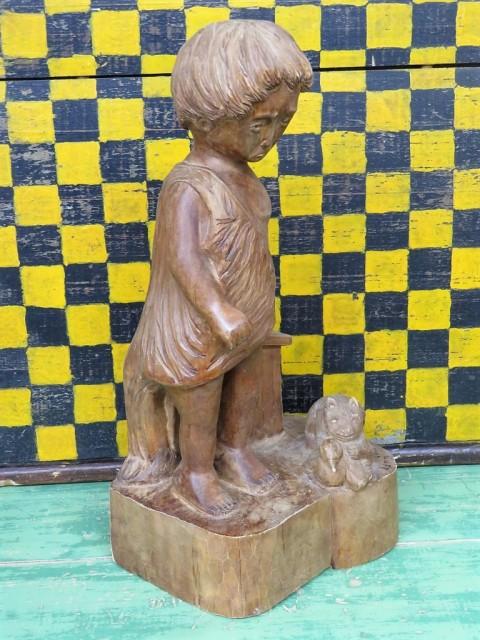 Sculpture en bois signée Lynn, art populaire 5