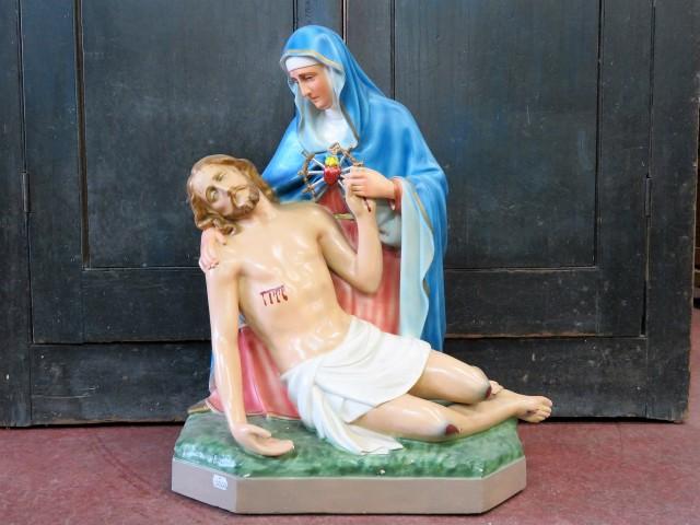 Statue religieuse signée Carli, La pietà 1