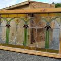 Vitrail avec cadre en bois, voir autres photos - 1