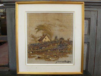 Collage sur toile signé Yvonne Bolduc, Baie-Saint-Paul 1